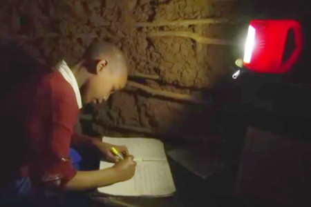 African child studies by solar light