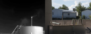 A composite image shows the VOC gases being vented off of a well in Aztec New Mexico using the FLIR (Forward Looking Infra Red) camera.  The same tank in zoom shows how close it is to people's houses.  The FLIR camera was operated by a certified FLIR videographer and is supported by Earthwork's Citizen Empowerment Project.