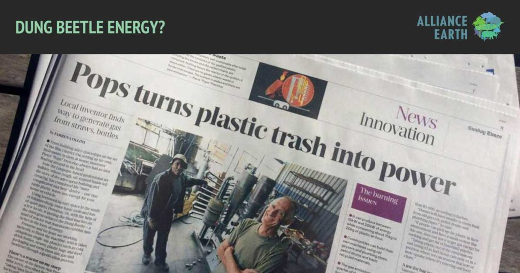 Pops turns plastic trash into power', read the Sunday Times article